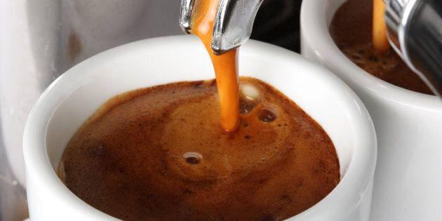 Espresso pouring into a