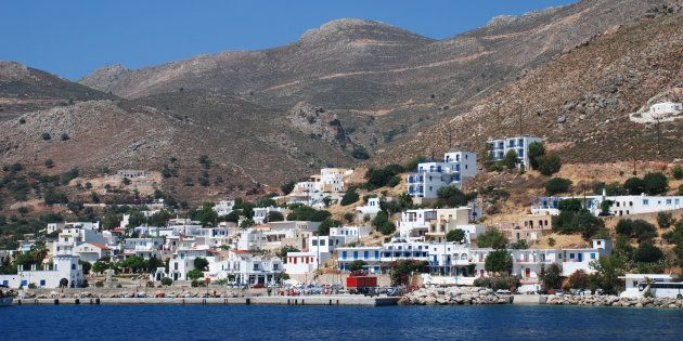Tilos, Greece - June 12, 2010: The harbour at Livadia on the Greek island of Tilos. The Dodecanese island...