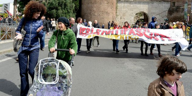ROME, ITALY - APRIL 25: Demonstration for the 71th anniversary of liberation from Nazi-fascism.Partisans...