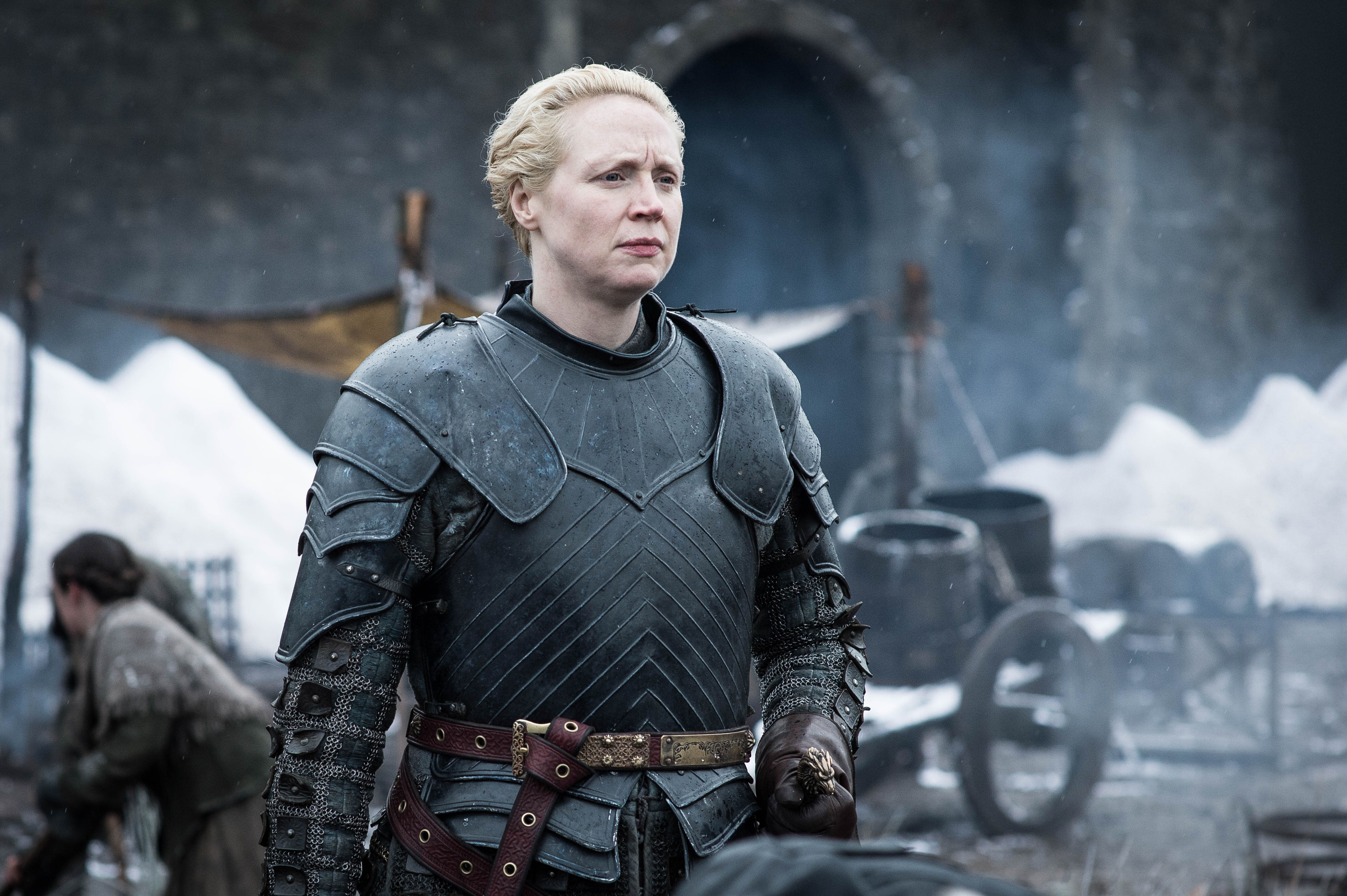 "Gwendoline Christie playing Brienne of Tarth on ""Game of Thrones"""
