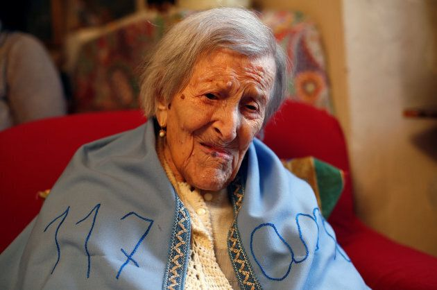 Emma Morano, thought to be the world's oldest person and the last to be born in the 1800s, is seen during...