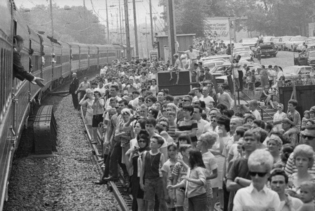 Funeral train passed this crowd with the body of Robert F.