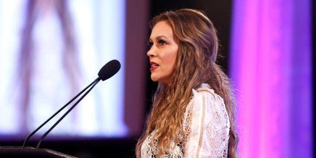 BEVERLY HILLS, CA - APRIL 19: Actress Alyssa Milano speaks at the 2017 World Of Children Hero Awards...