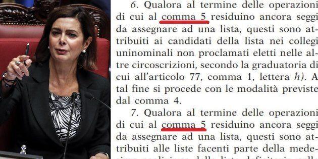 La Presidenza della Camera corregge