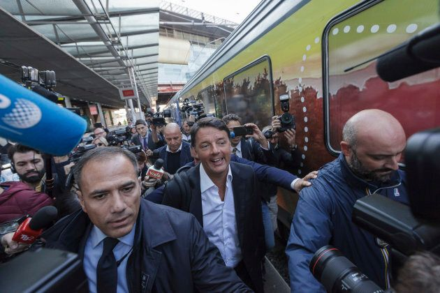 Matteo Renzi, Italy's former Prime Minister, arrives to board on a Democratic Party's train 'Destination...