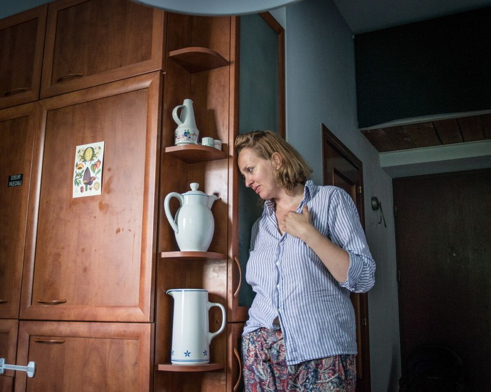 Poland, Warsaw , June 2017: Monika , single mother of Gustaw tired early morning after the night when...