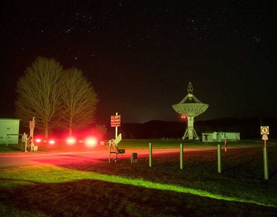 Green Bank WV, March 2017: A night view at the Green Bank Observatory (WV), where the Green Bank Telescope...
