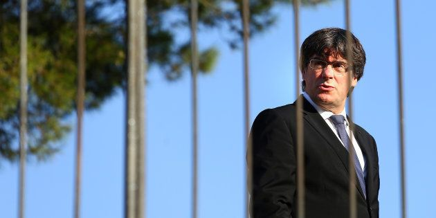 Catalan President Carles Puigdemont attends a memorial event at the tomb of former president of the Generalitat,...