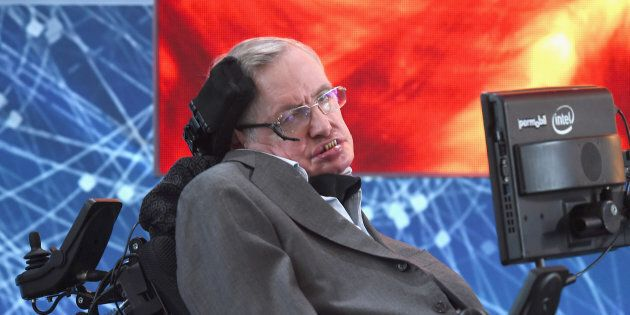 NEW YORK, NEW YORK - APRIL 12: Cosmologist Stephen Hawking attends the New Space Exploration