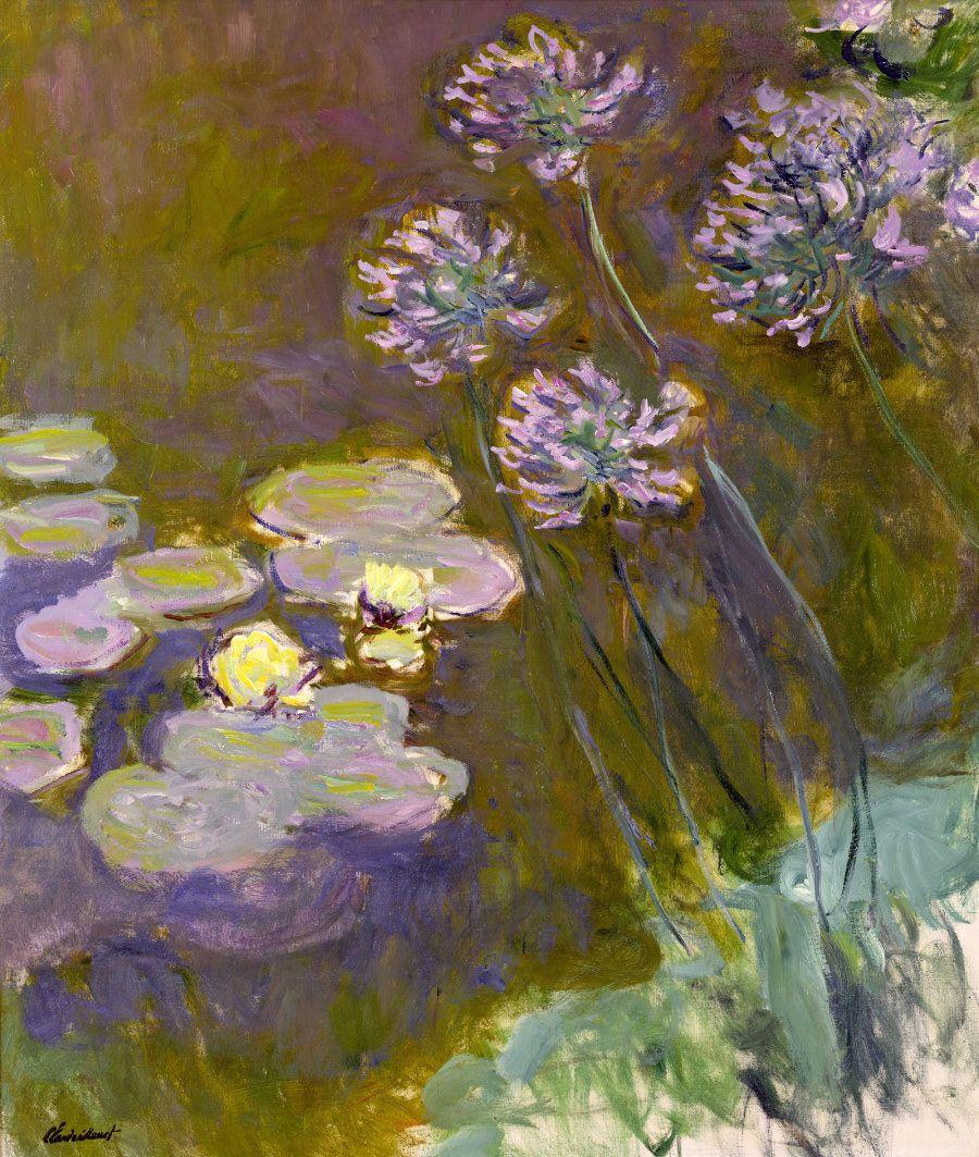 Claude Monet (1840-1926), Ninfee e Agapanti 1914-1917 Olio su tela 140x 120 - Parigi, Museée Marmottan