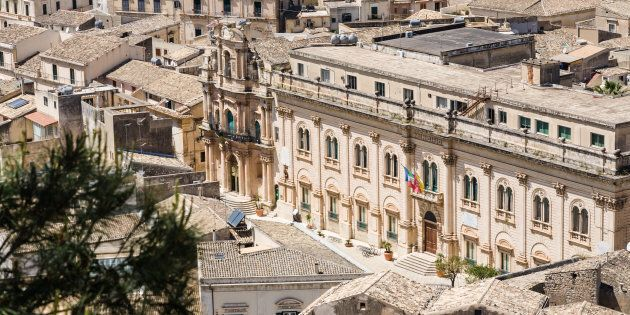 The town hall of the baroque city of Scicli seen from above in southern Sicily,