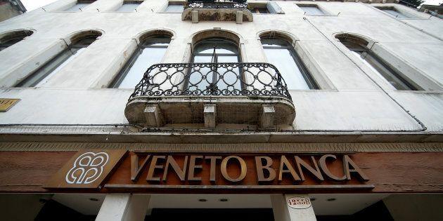 FILE PHOTO: The logo of Veneto Banca bank is seen in Venice, Italy, January 31 2016. REUTERS/Alessandro...