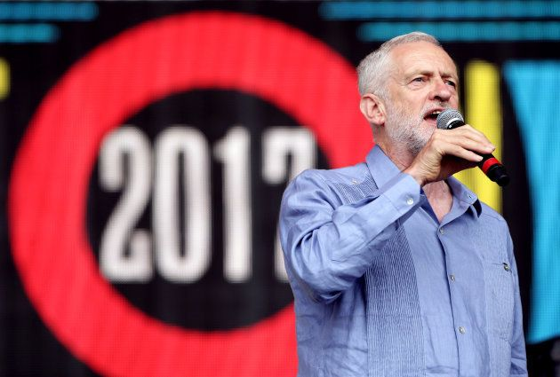 Labour leader Jeremy Corbyn speaks to the crowd from the Pyramid stage at Glastonbury Festival, at Worthy...