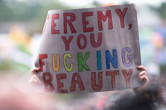 GLASTONBURY, ENGLAND - JUNE 24: Signs in support of Jeremy Corbyn on day 3 of the Glastonbury Festival...