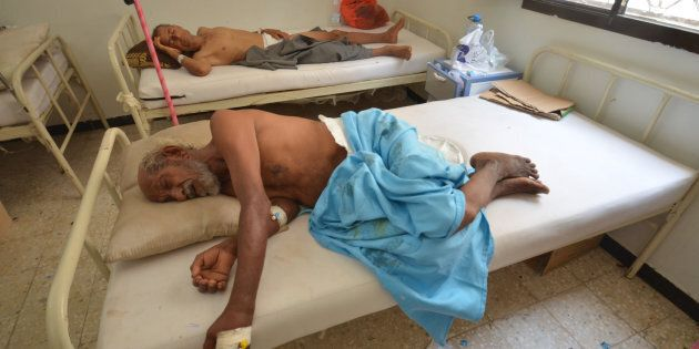 People infected with cholera lie on beds at a hospital in the Red Sea port city of Hodeidah, Yemen May...