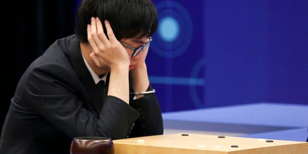 JIAXING, CHINA - MAY 27: Chinese Go player Ke Jie competes against Google's artificial intelligence program...