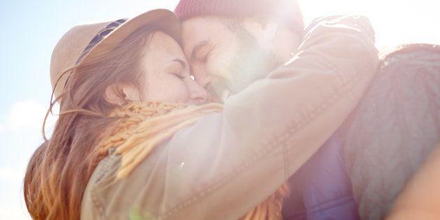 Heart touching couple hugging