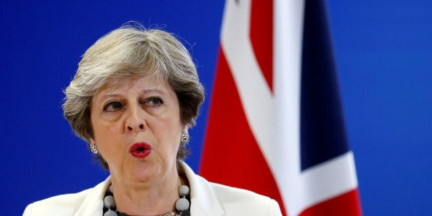 Britain's Prime Minister Theresa May addresses a news conference during an European Union leaders summit...