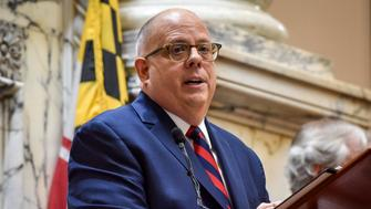 ANNAPOLIS, MD - JANUARY 30: Governor Larry Hogan delivers the State of the State address to a joint session, on January, 30, 2019 in Annapolis, MD. (Photo by Bill O'Leary/The Washington Post via Getty Images)