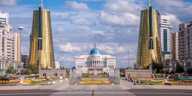 ASTANA, KAZAKHSTAN REPUBLIC - 2012: View of the Nurzhol Boulevard and President's Palace