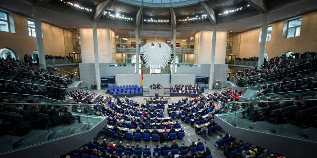 BERLIN, GERMANY - OCTOBER 24: Overview of the plenary hall during the constituent session of the 19th...