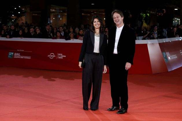 Virginia Raggi, Major of Rome, and Luca Bergamo during the red carpet on the occasion of the open ceremony...