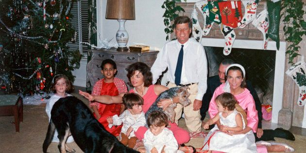 President John F. Kennedy and First Lady Jacqueline Kennedy with their family on Christmas Day at the...