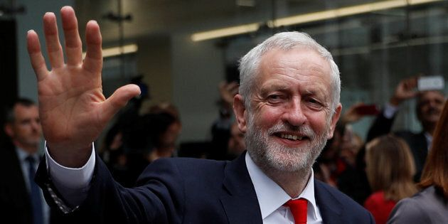 Jeremy Corbyn, leader of Britain's opposition Labour Party, leaves party's headquarters on the morning...