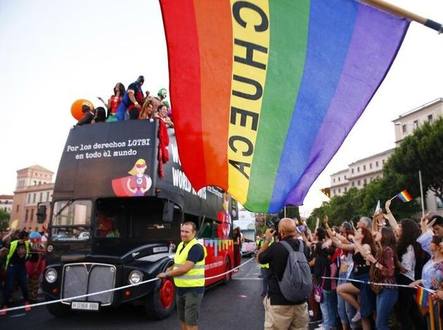 epa06060718 View of a float with participants in the rally to celebrate the 2017 World Pride in Madrid,...