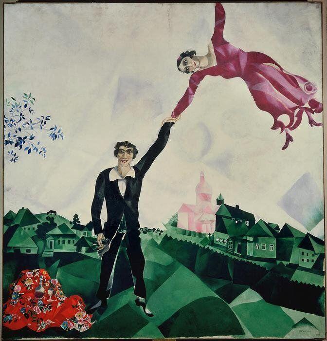 Marc Chagall La passeggiata, 1917?1918 Olio su tela, 169x163 cm State Russian Museum, San Pietroburgo....