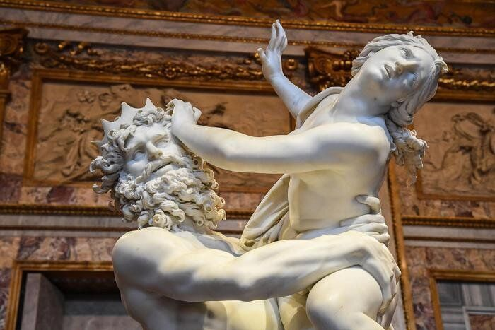 The sculpture entitled ?The Rape of Proserpina? by Gian Lorenzo Bernini on display at the ?Bernini? exhibition...