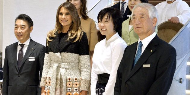 U.S. first lady Melania Trump and Akie Abe, wife of Japan's Prime Minister Shinzo Abe, pose for photo...