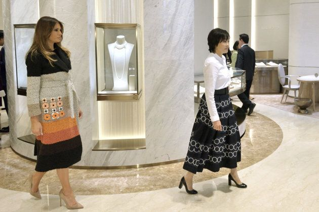 U.S. first lady Melania Trump and Akie Abe, wife of Japan's Prime Minister Shinzo Abe, arrive at Mikimoto...