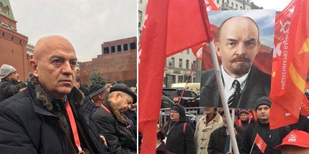 Bandiere sovietiche, ritratti di Lenin e Stalin: i comunisti