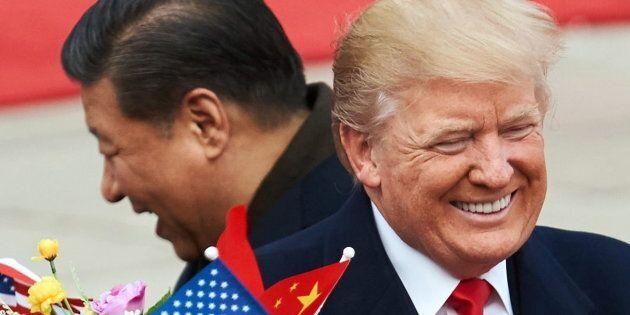 BEIJING, CHINA - NOVEMBER 9, 2017: China's President Xi Jinping (L) and US President Donald Trump during...