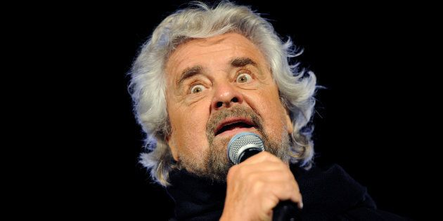 5-Star movement founder Beppe Grillo speaks during the final rally for the regional election in Palermo,...