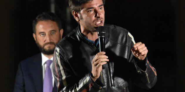Alessandro Di Battista durante il comizio M5S per il candidato alle Regionali siciliane Giancarlo Cancelleri,...