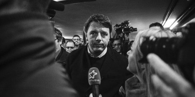 Secretary of PD Party Matteo Renzi during 'Destination Italy' political campaign by train arrives in...