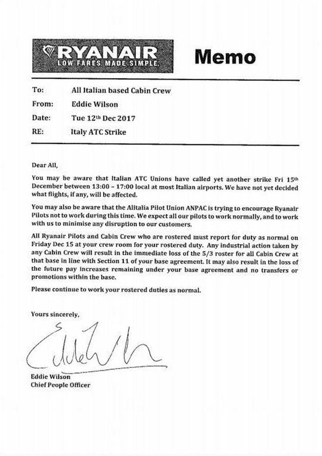 La lettera inviata da Ryanair ai piloti italiani della compagna con la quale vengono invitati ad astenersi...
