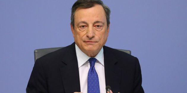 European Central Bank (ECB) President Mario Draghi addresses a news conference at the ECB headquarters...