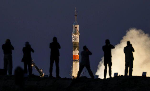 La partenza della navicella Soyuz MS-05 il 28 luglio
