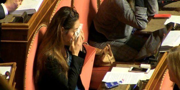 Un fermo immagine di un video Ansa mostra la senatrice M5s, Paola Taverna, mentre si commuove dopo l'esito...