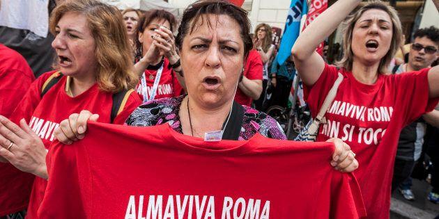 SANTI APOSTOLI SQUARE, ROME, ITALY - 2016/05/27: Call center employees of Almaviva Contact Spa rally...