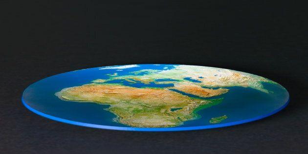 One dimensional globe, against black background, (digitally