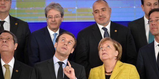 (second row) Italy's Prime minister Paolo Gentiloni (L), Bulgaria's Prime Minister Boyko Borisov , (first...