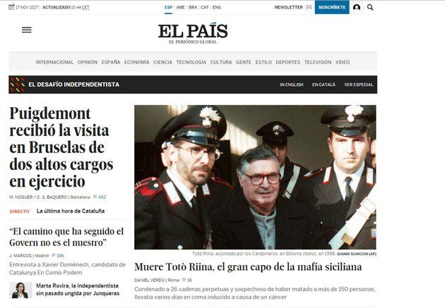 La homepage di El Pais con la notizia della morte di Tot� Riina, 17 novembre 2017. ANSA/ WEB +++ NO...