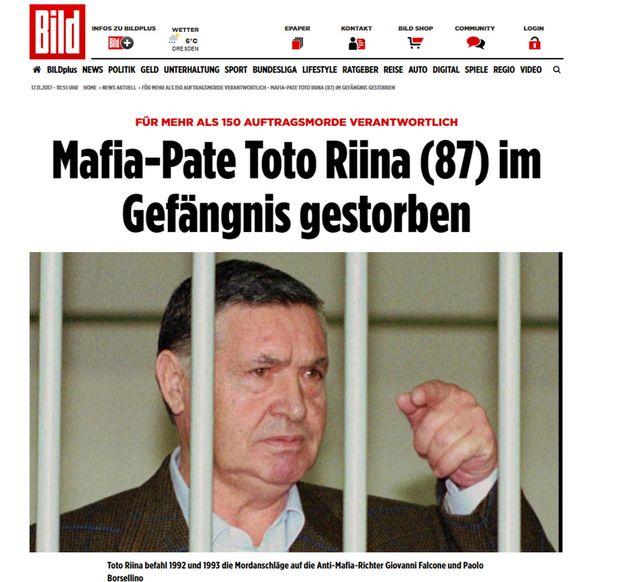 La homepage di Bild con la notizia della morte di Tot� Riina, 17 novembre 2017. ANSA/ WEB +++ NO SALES,...
