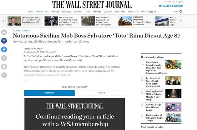 La homepage del Wall Street Journal con la notizia della morte di Tot� Riina, 17 novembre 2017. ANSA/...