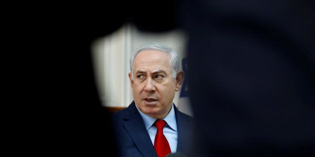 Israeli Prime Minister Benjamin Netanyahu attends the weekly cabinet meeting at the Prime Minister's...