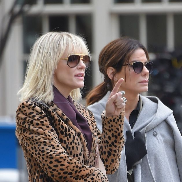 NEW YORK - OCTOBER 25: Cate Blanchett and Sandra Bullock film scenes for 'Oceans 8' outside the Metropolitan...